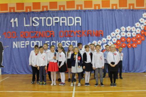 Apel  klas I-III z okazji 100-lecia odzyskania niepodległości przez Polskę